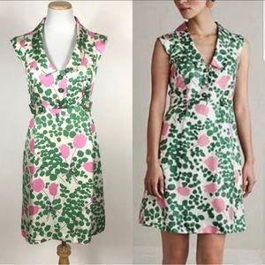 Anthro Underwood tulip print silk dress